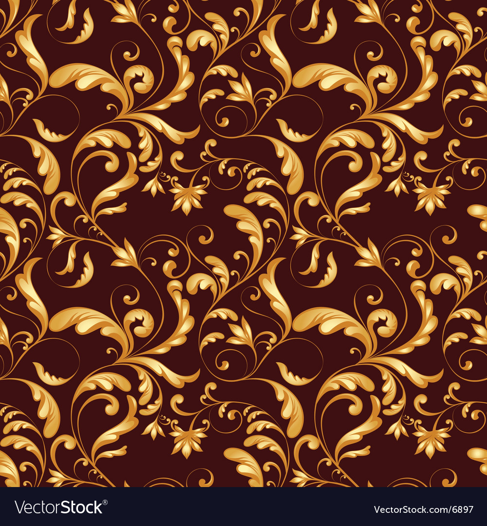 Tiling flower texture gold vector image