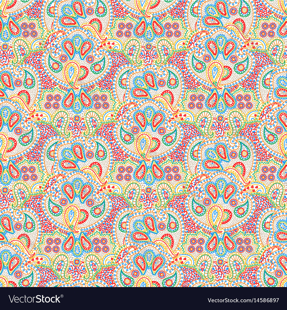 Seamless color paisley pattern vector image