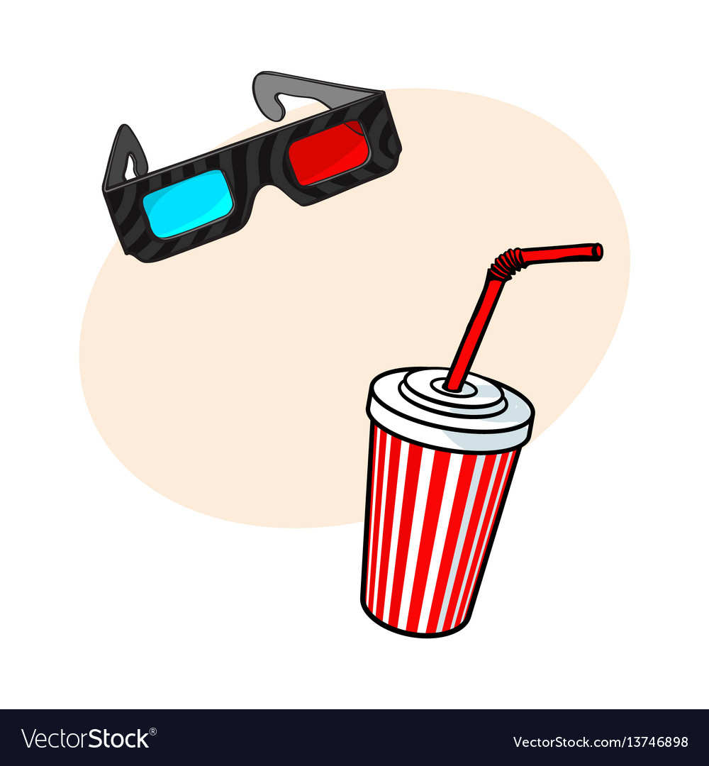 Cinema objects - 3d glasses and soda water in vector image