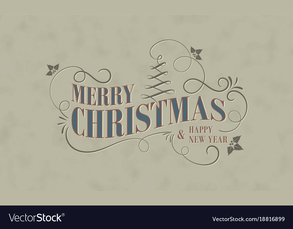 Christmas and new year greeting card in vintage vector image