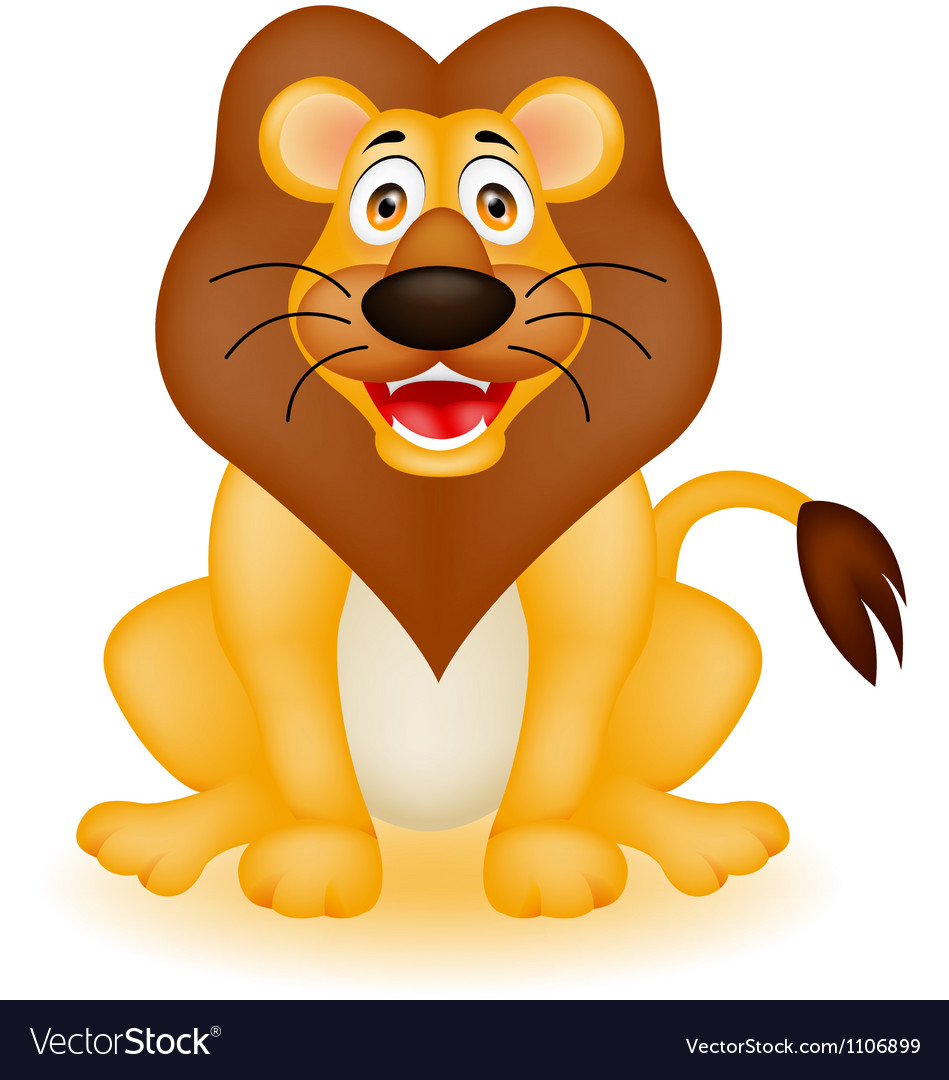 funny lion cartoon royalty free vector image vectorstock