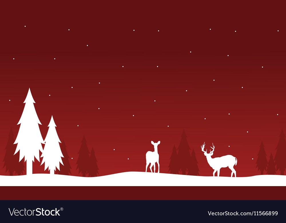 Silhouette of deer and spruce on red backgrounds vector image