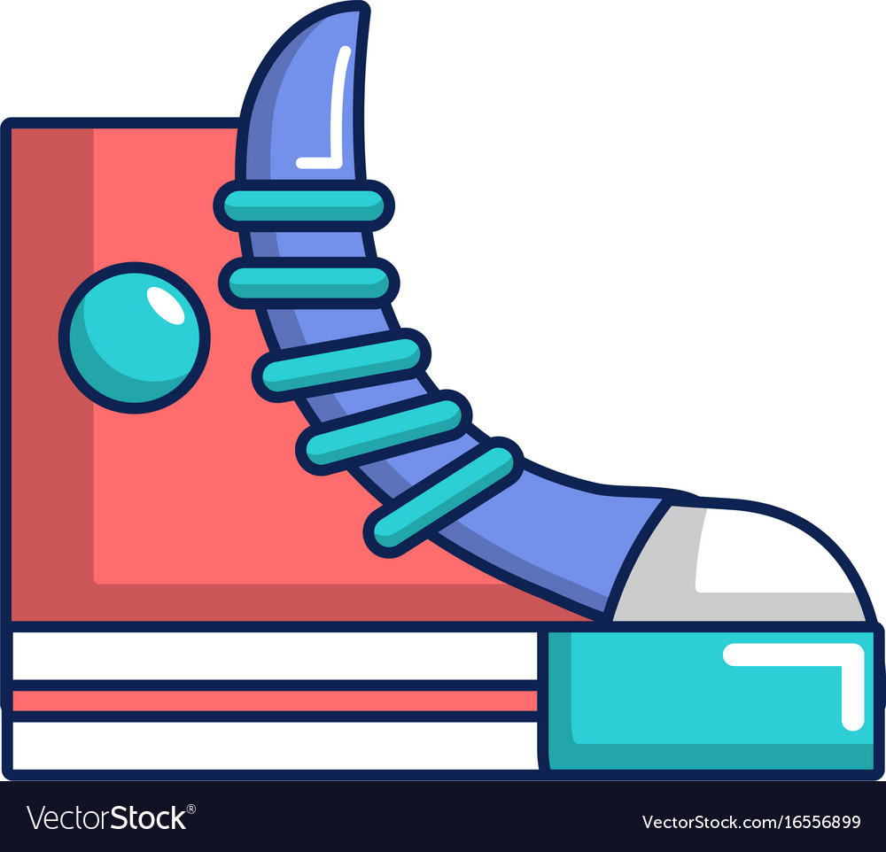 Sneakers hipster shoes icon cartoon style vector image