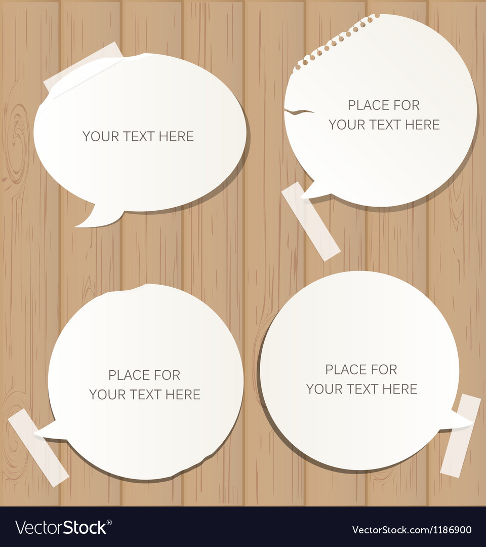 Wooden background with speech bubbles vector image
