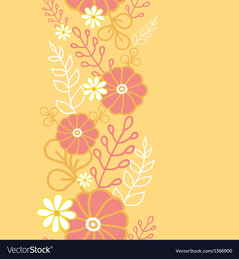 Hot flowers vertical seamless pattern background vector image