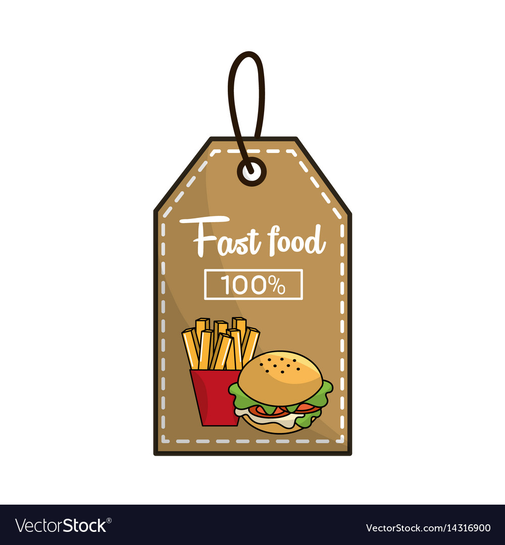 Label fast food french fries and burger icon vector image