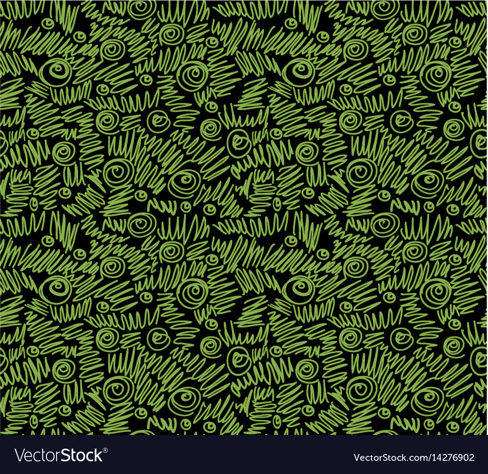 Ecology doodles seamless pattern black background vector image