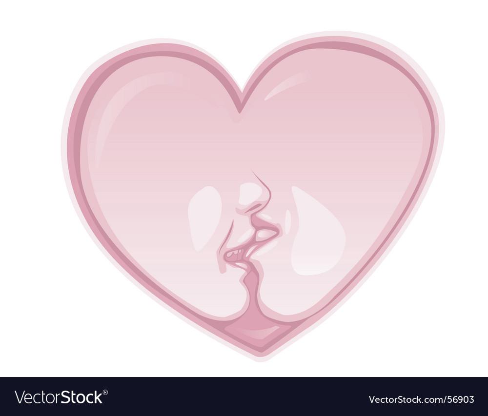 Heart kiss Vector Image