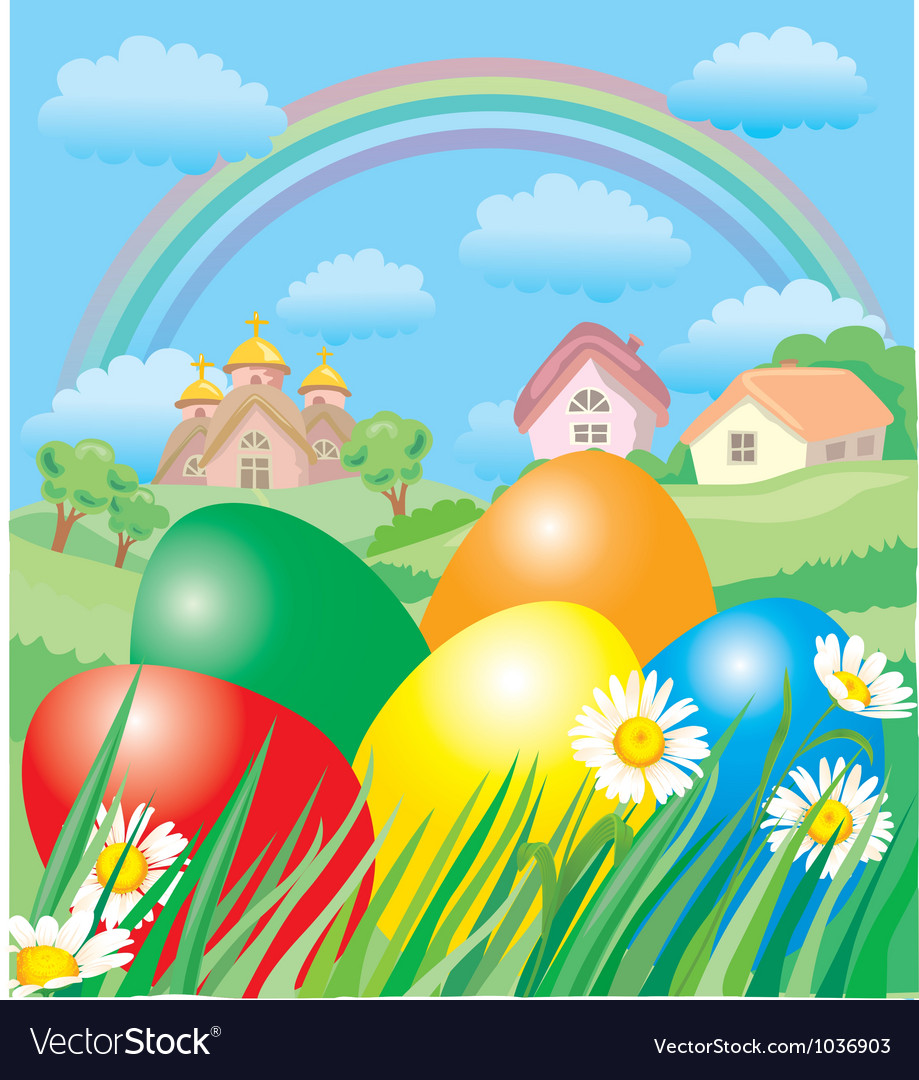 easter landscape royalty free vector image vectorstock
