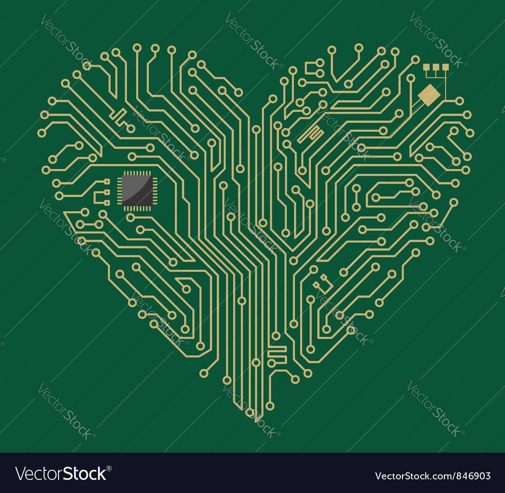 Motherboard computer heart vector image