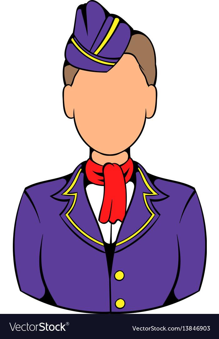 Stewardess icon in icon cartoon vector image