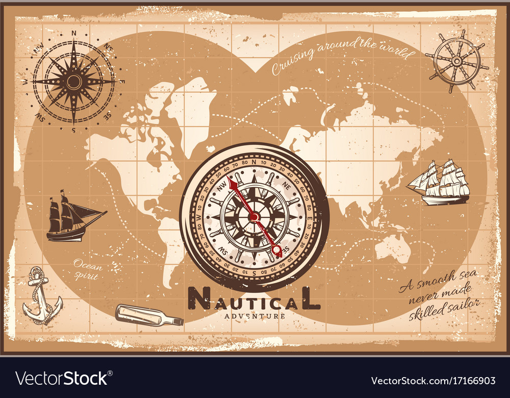 Vintage nautical world map template royalty free vector vintage nautical world map template vector image gumiabroncs Images
