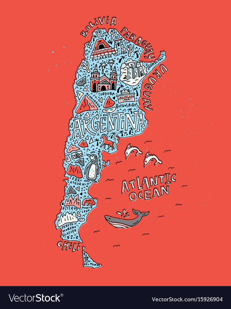 Cartoon map argentina vector image