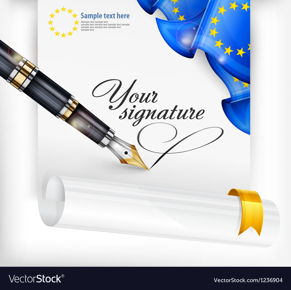 Euro blank and pen vector image