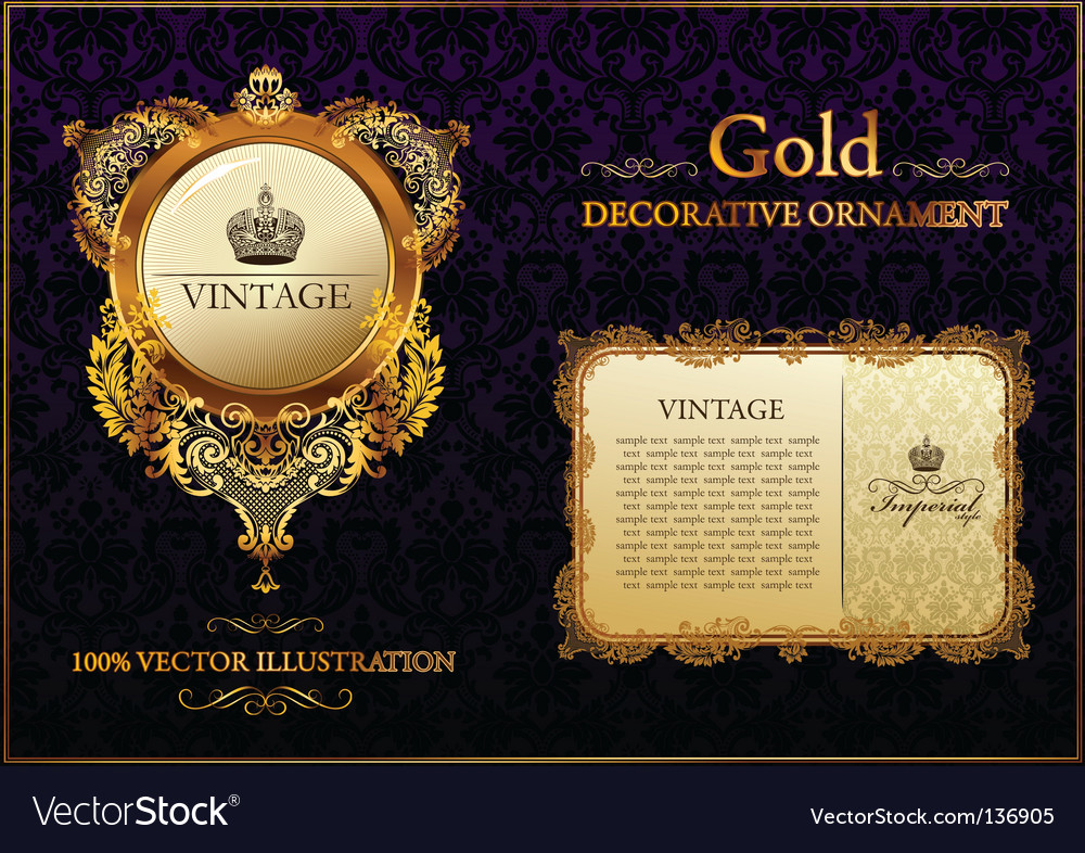 Gold vintage decorative ornament vector image