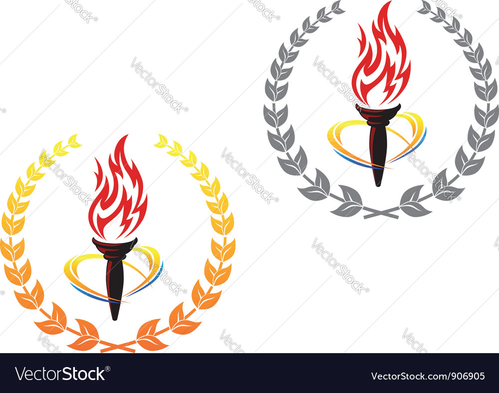 Flaming torches in laurel wreathes vector image
