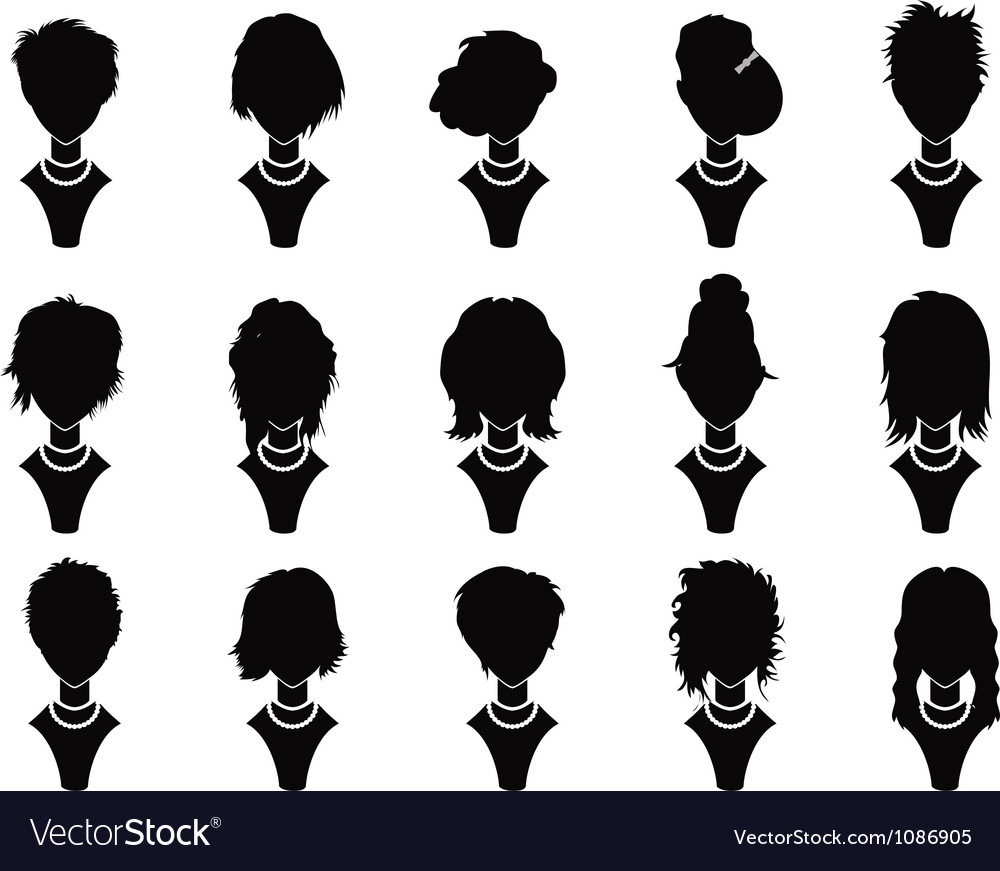 Hairstyle icons for woman vector image