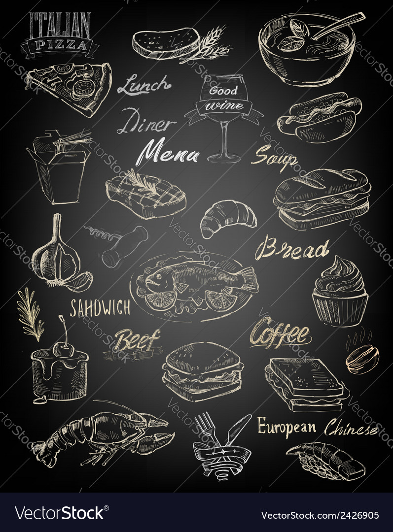 Hand drawn food and meal vector image