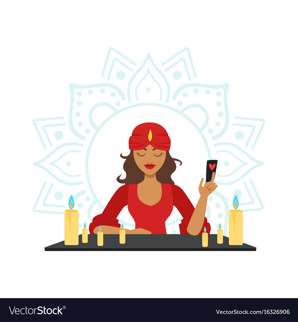 Fortune teller forecasting with cards occult vector image