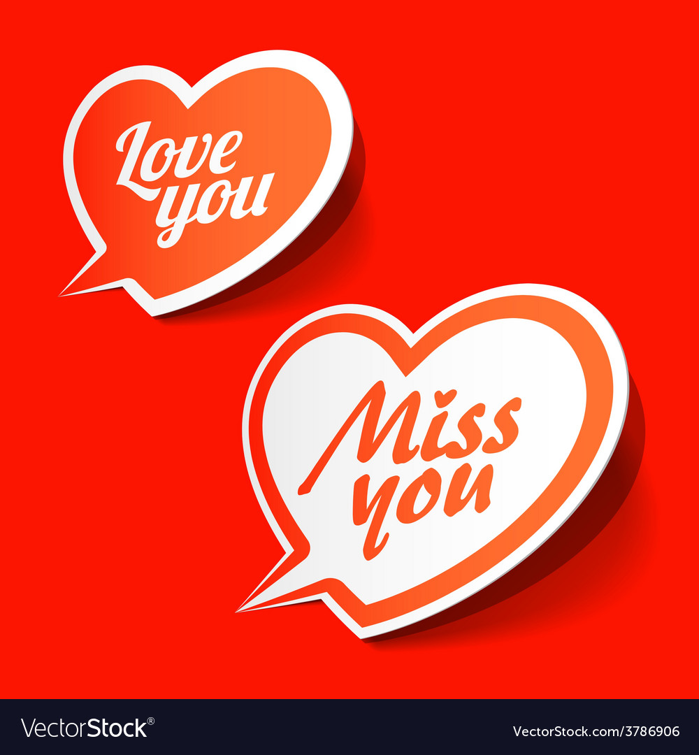 Love you and Miss you heart shaped bubbles Vector Image