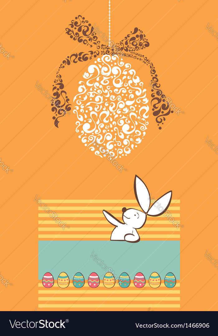 Tribal egg Easter rabbit background vector image