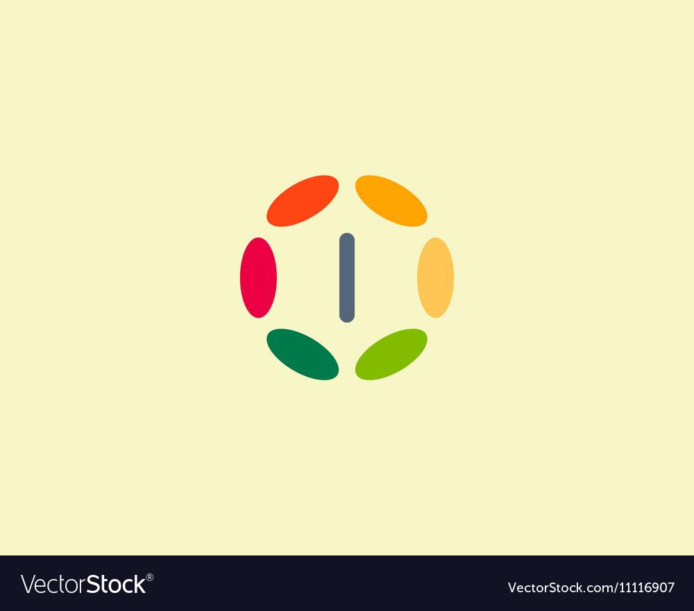 Color letter I logo icon design Hub frame vector image