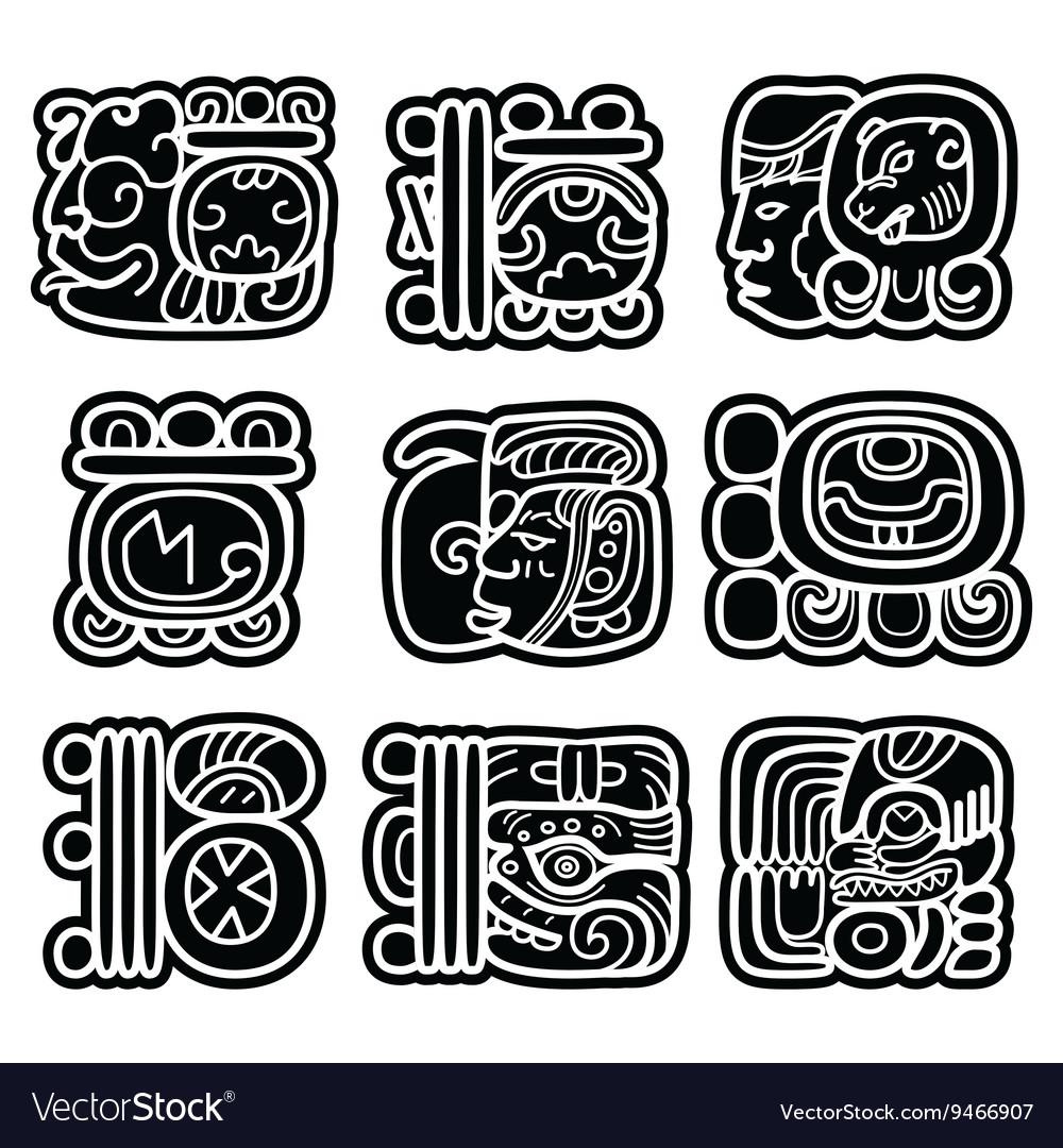 Mayan writing system Maya glyphs and languge Maya vector image