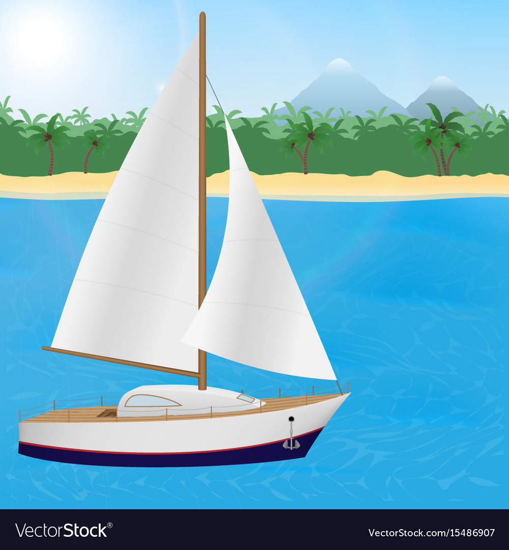 Summer travel to tropical paradise sailboat on a vector image