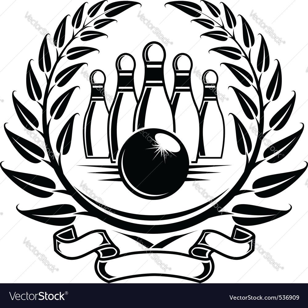 Bowling symbol in laurel wreath in retro style vector image