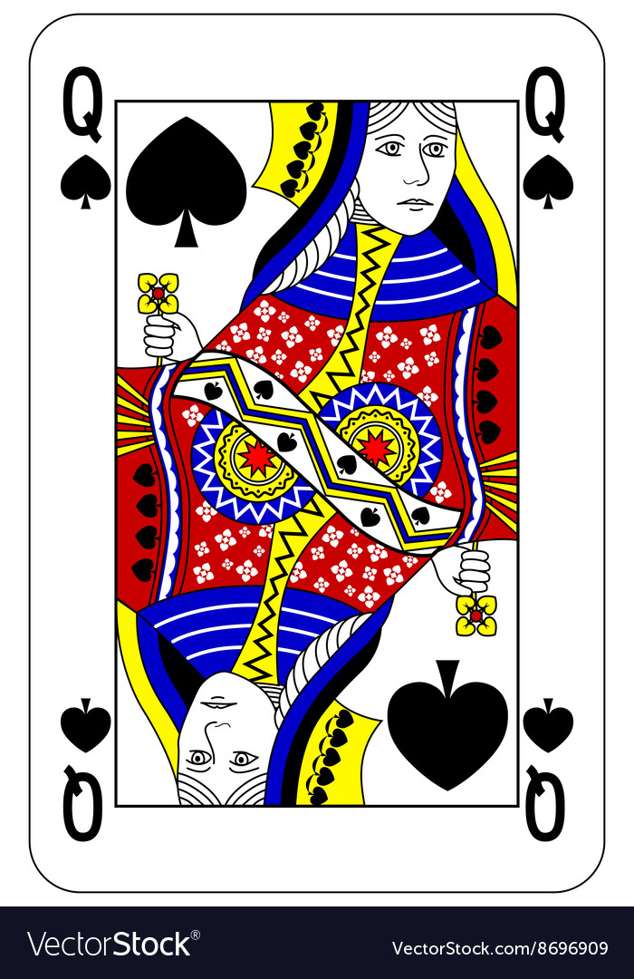 poker playing card queen spade royalty free vector image. Black Bedroom Furniture Sets. Home Design Ideas