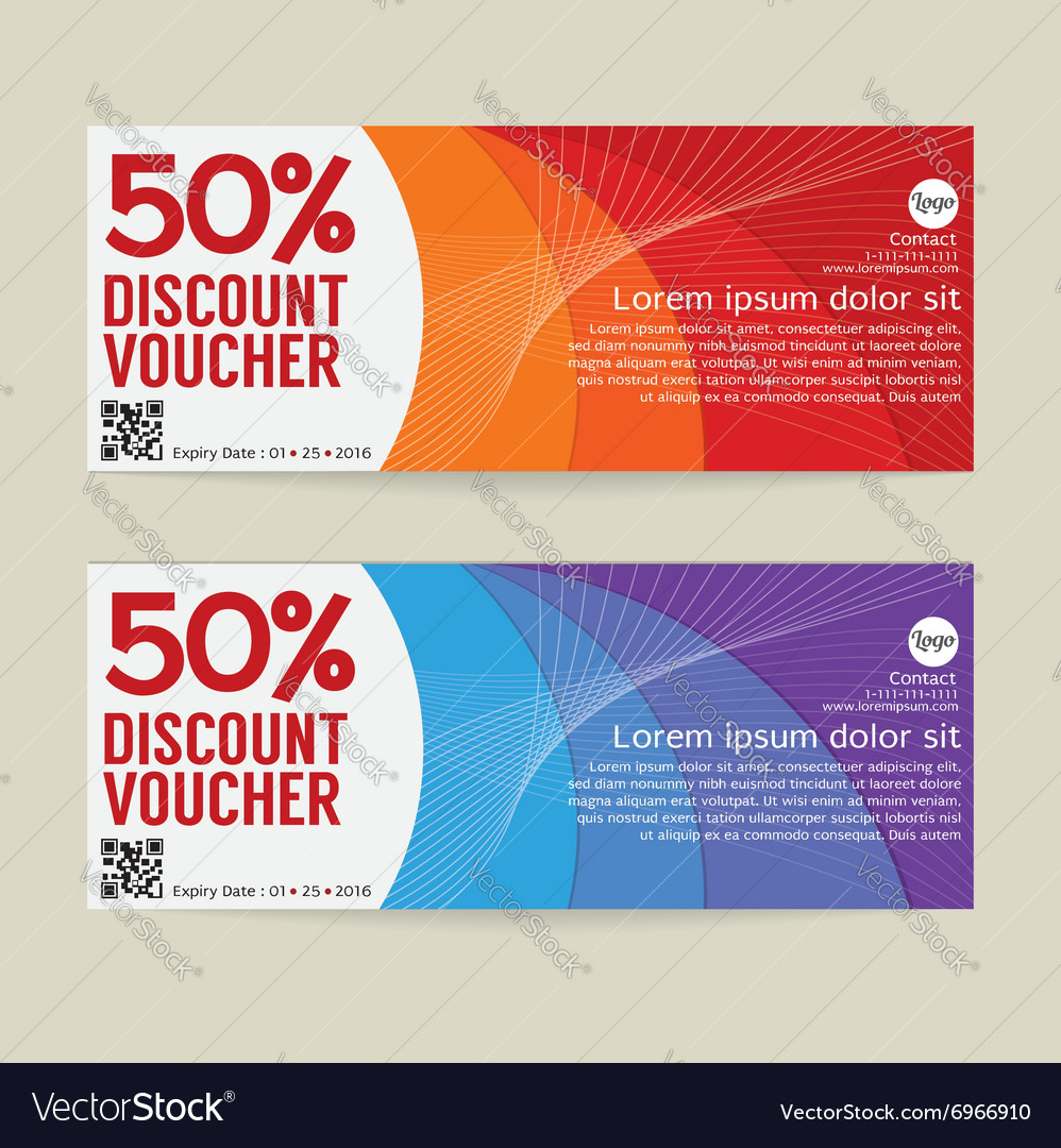 Beautiful 50 Percen Discount Voucher Modern Template Design Vector Image  Discount Coupons Templates