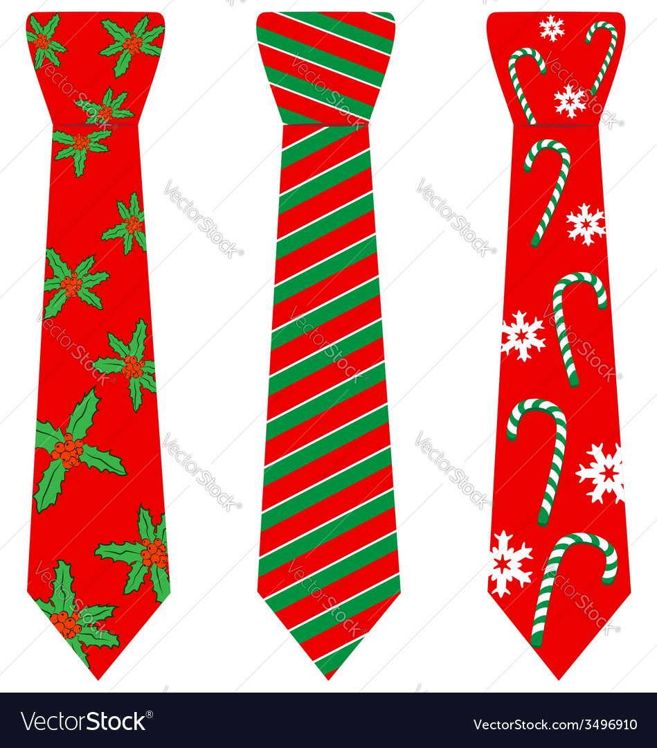 Red Christmas ties with print on white vector image