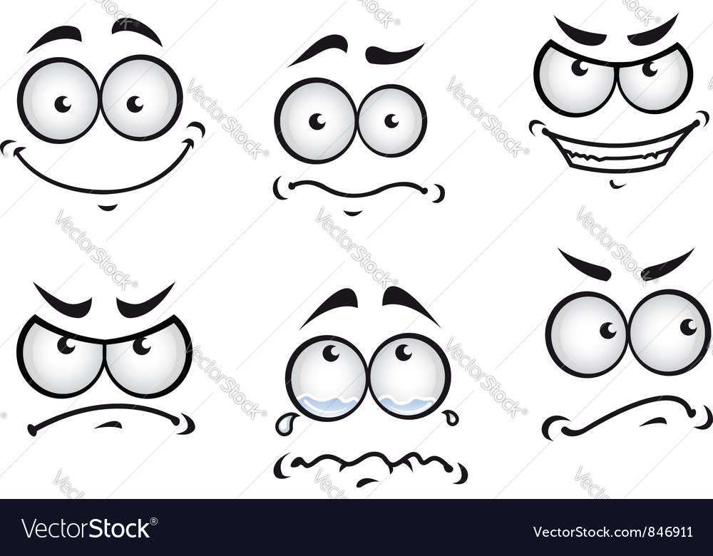 Cartoon comics faces set vector image