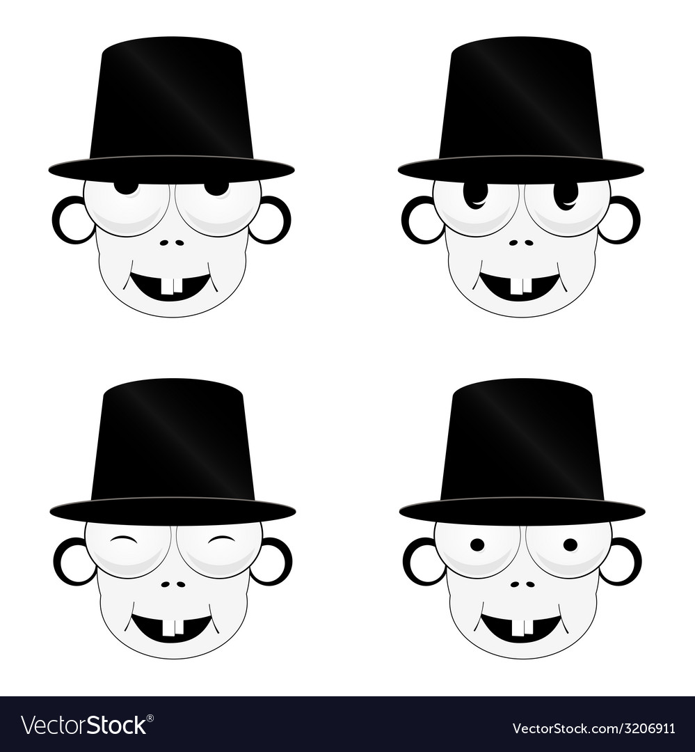 Funny and cute people head vector image