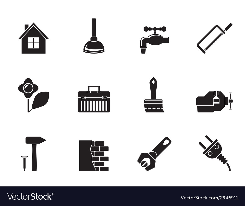 Silhouette construction and do it yourself icons vector image