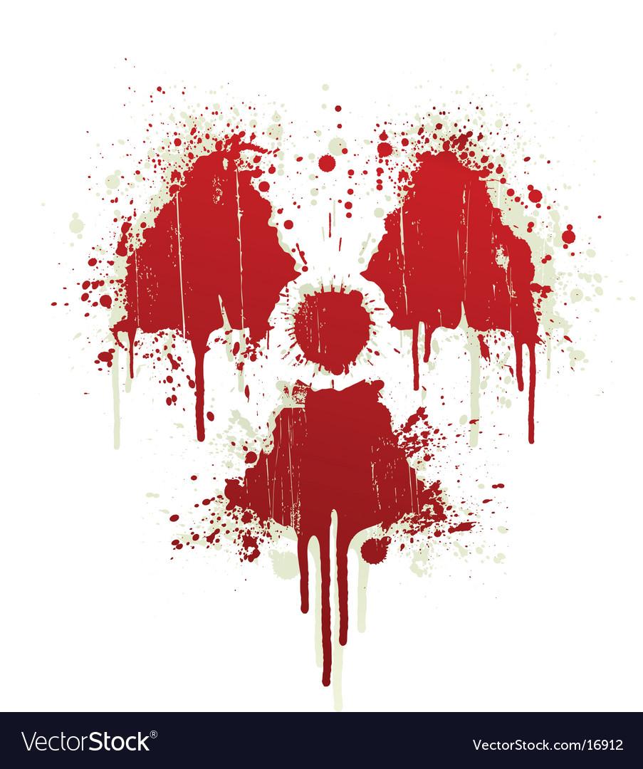 Radioactive symbol blood splatter vector image