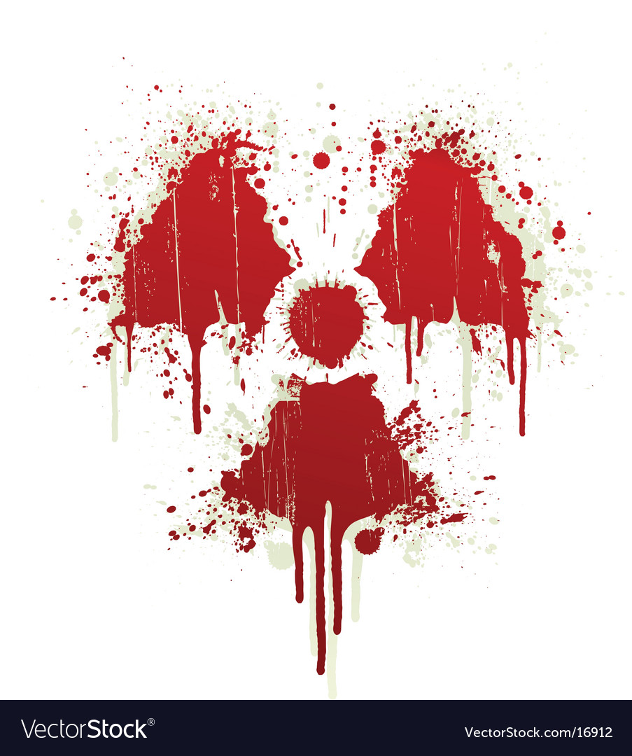 Radioactive symbol blood splatter vector image