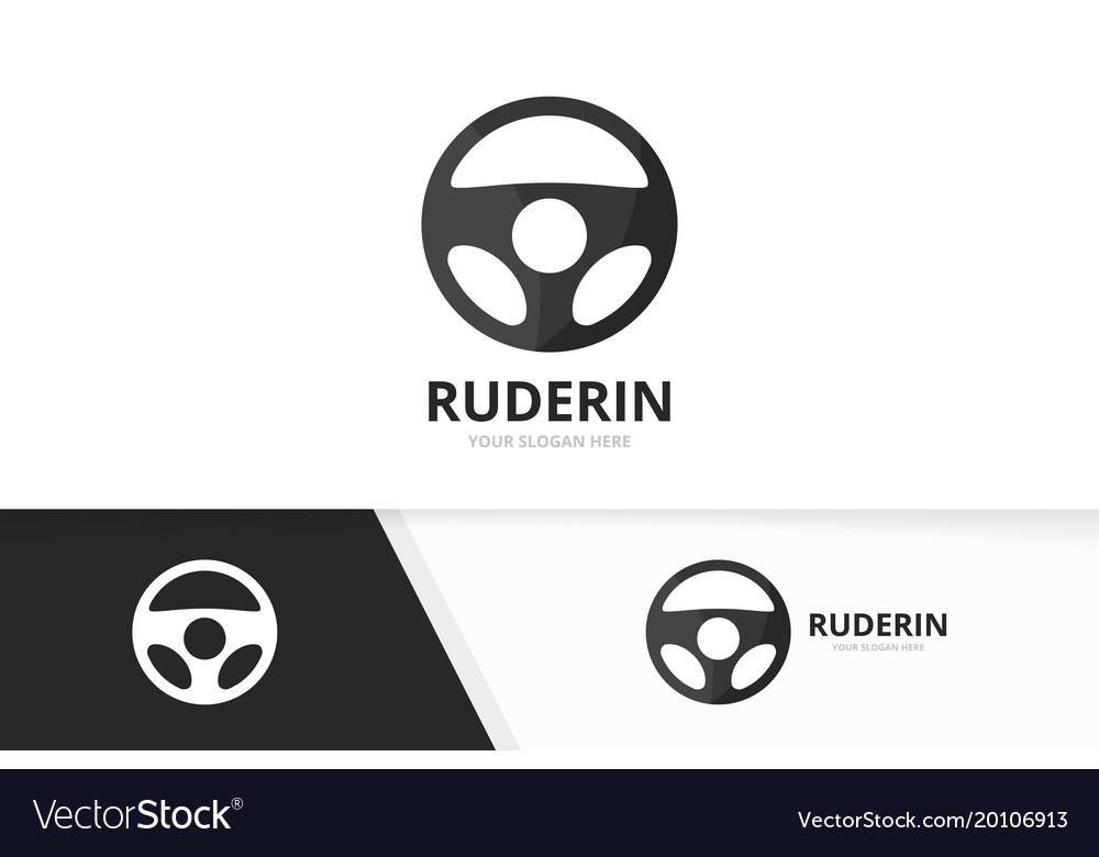 Car helm logo combination steering wheel vector image