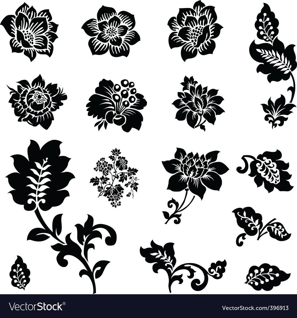 cutout flowers royalty free vector image vectorstock
