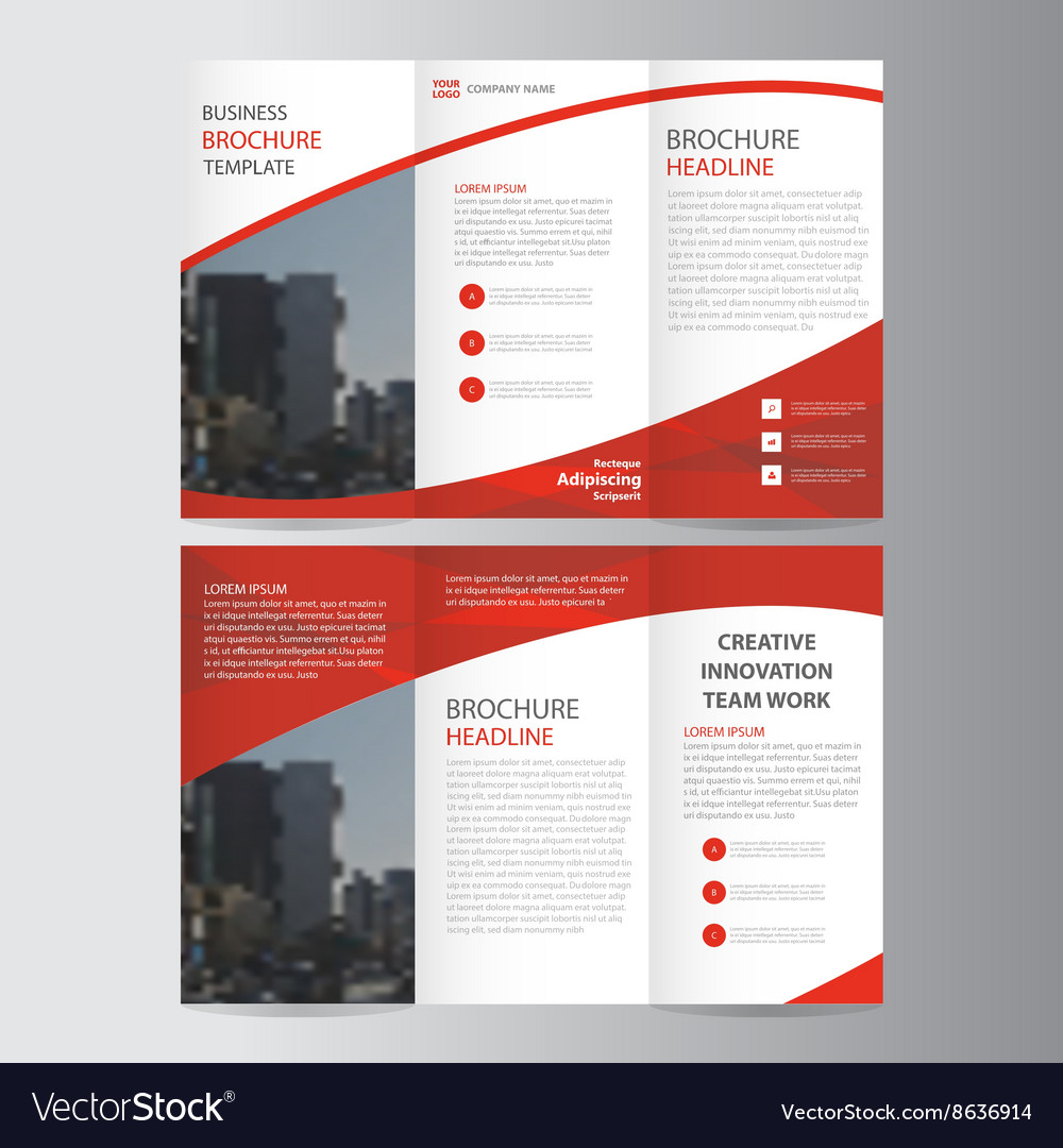 One Fold Brochure Template Free: Red Trifold Leaflet Brochure Flyer Templates Set Vector Image