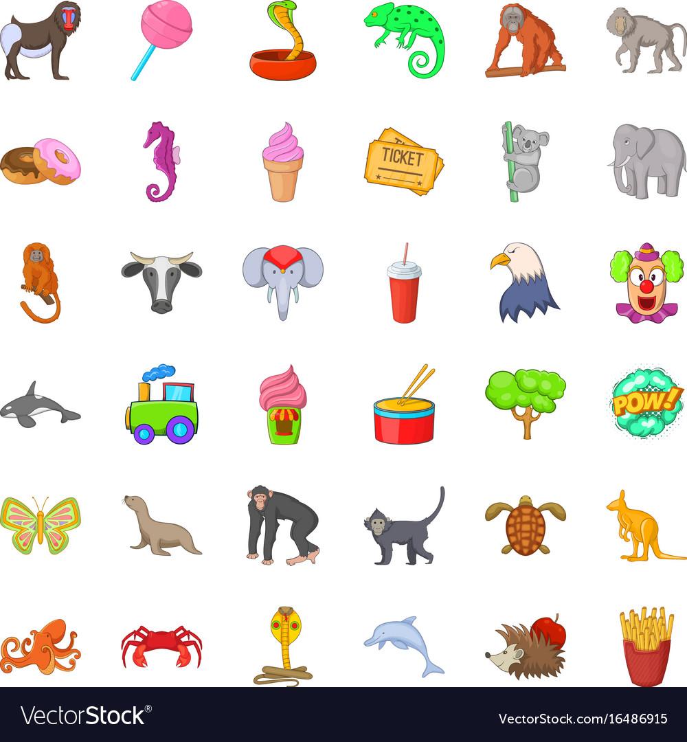 Animal zoo icons set cartoon style vector image