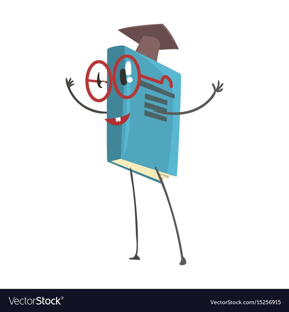 Smart humanized book in a graduation cap cartoon vector image