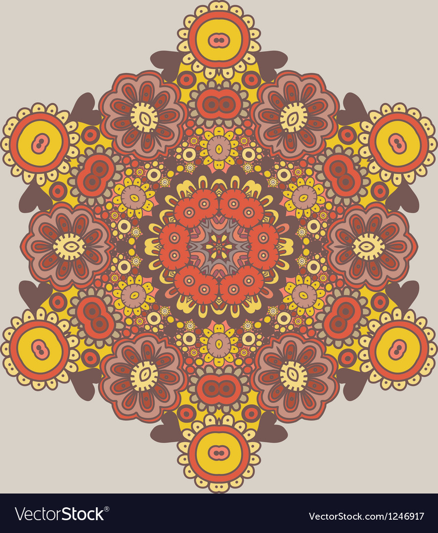 Geometric background Circle floral ornament vector image