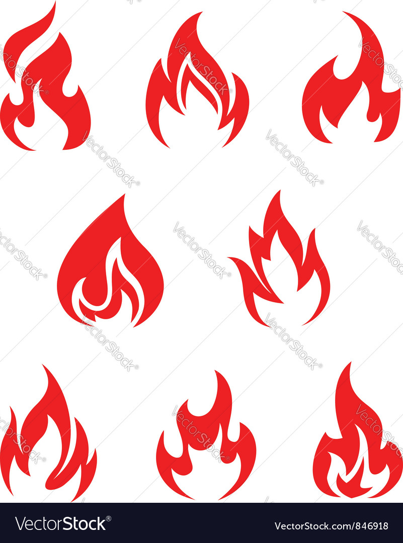 Set of fire flames vector image