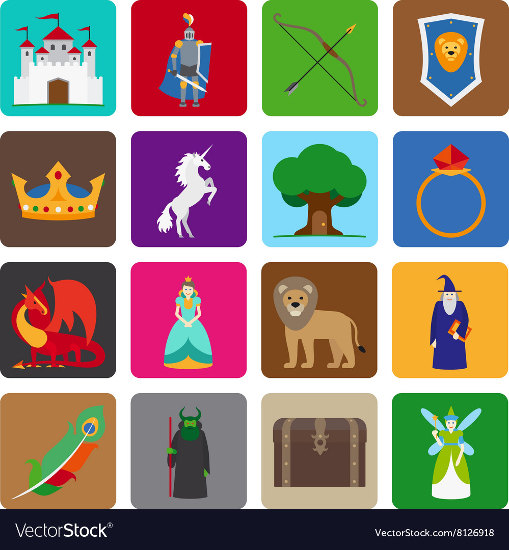 Fairy tale flat icons vector image
