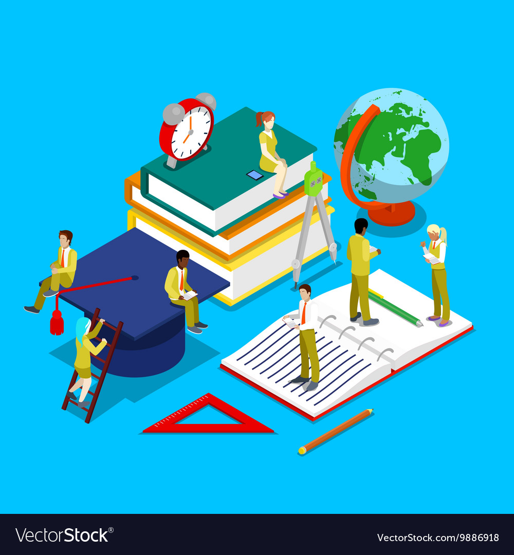 Isometric Education Concept with Students vector image