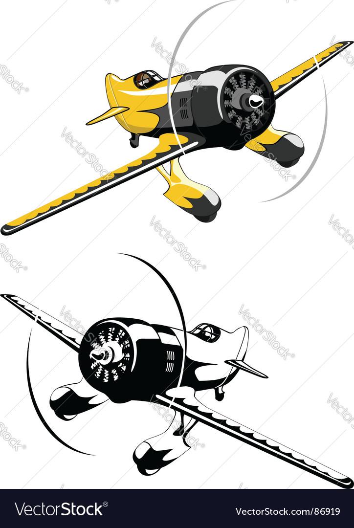 Retro race airplane vector image