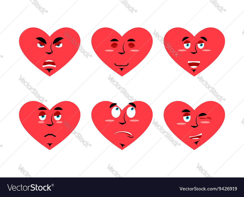 Set love emotion Cheerful and angry love Surprise vector image