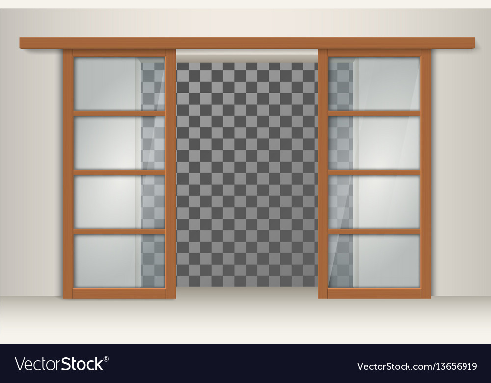 Two sliding wooden doors Royalty Free Vector Image