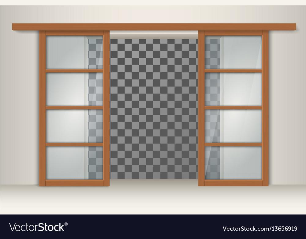 Two sliding wooden doors vector image